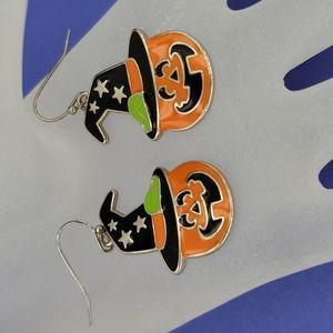 Halloween Pumpkin Witch Earrings